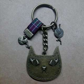 古銅喵嗚鑰匙圈