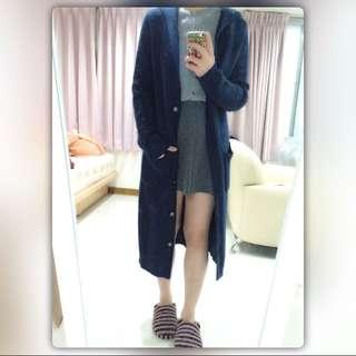 藏藍連帽過膝粗針織外套