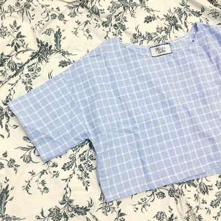 (BN) Light Blue Grid/Checkered/Gingham Boxy Crop Top