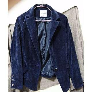 燈心絨寶藍外套修身款