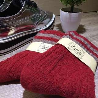 加厚冬季保暖翻口羊毛襪(實品拍攝)