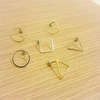 簡約幾何圖形鈦鋼耳針單支價