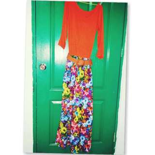 Khaki Orange Floral Maxi Dress(with detachable belt)