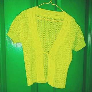 Lime Green Crochet Crop Cardigan