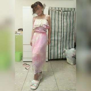 渲染粉紫色系細肩長裙