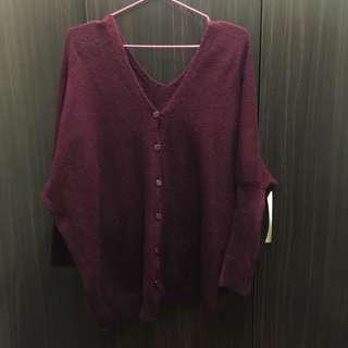 2way 設計酒紅色針織衣