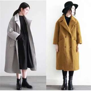 韓風 超暖繭型闊版毛呢大衣