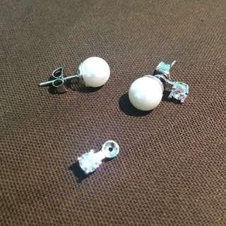 🔺$加價購200元🔺垂鑽珍珠耳環 2戴式