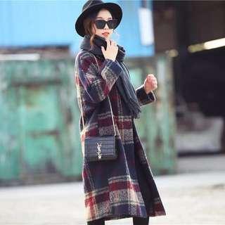 韓風 格紋毛呢外套