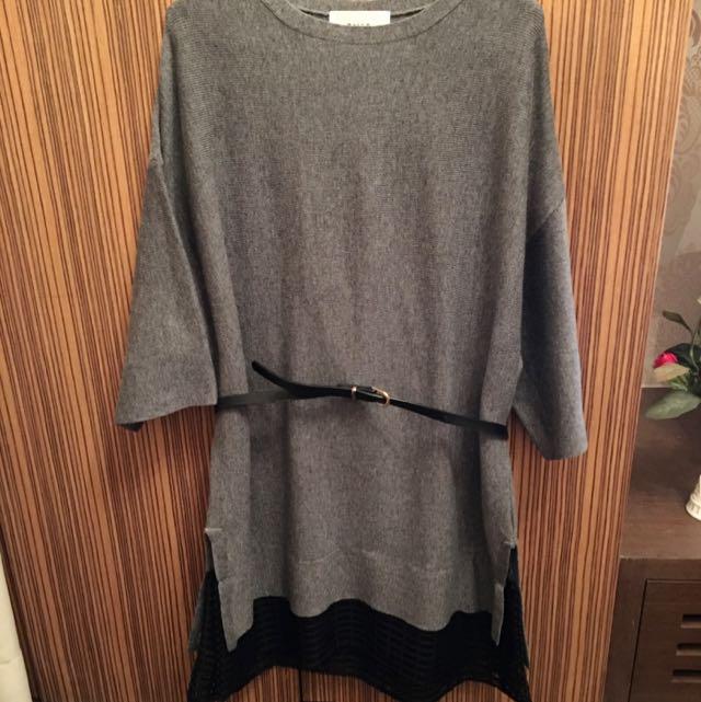 正韓東區梨花購入灰色拼接針織長版上衣附腰帶
