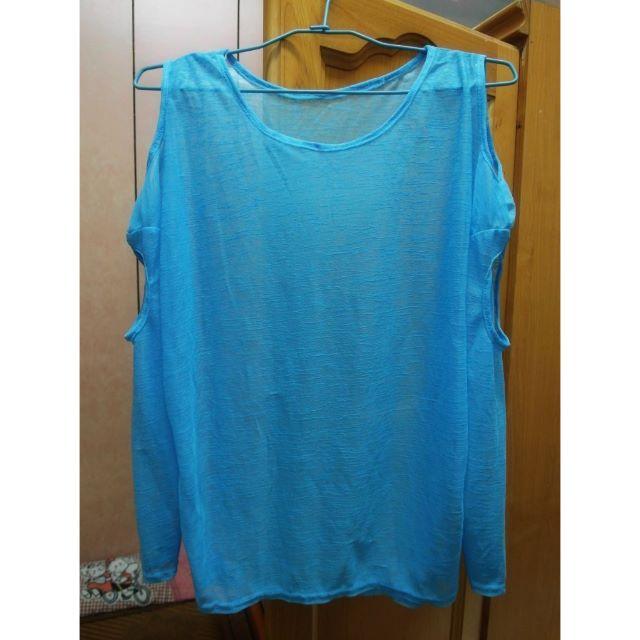 水藍挖肩造型上衣