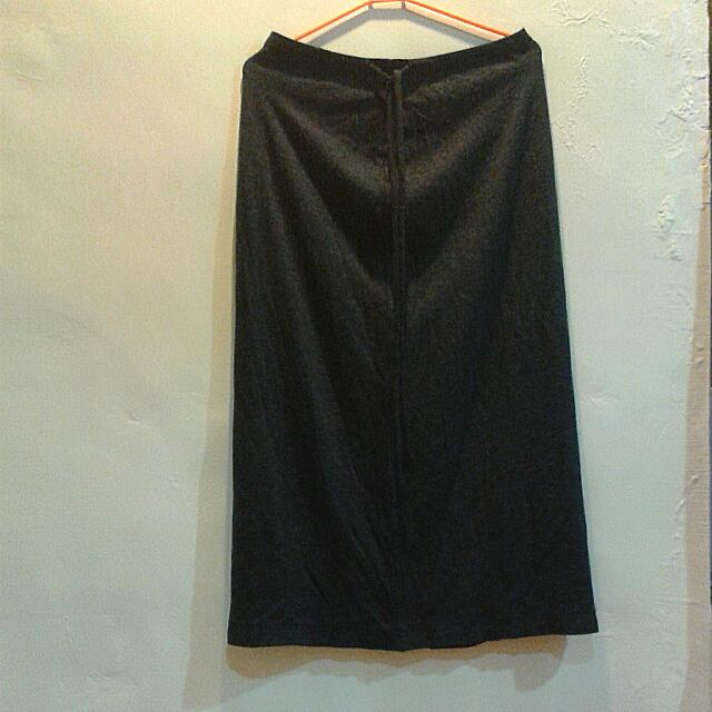 古著深灰棉質長裙