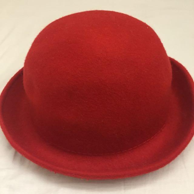 ✋🏻二手✋🏻小紅圓帽禮帽#衣櫃炸了救我