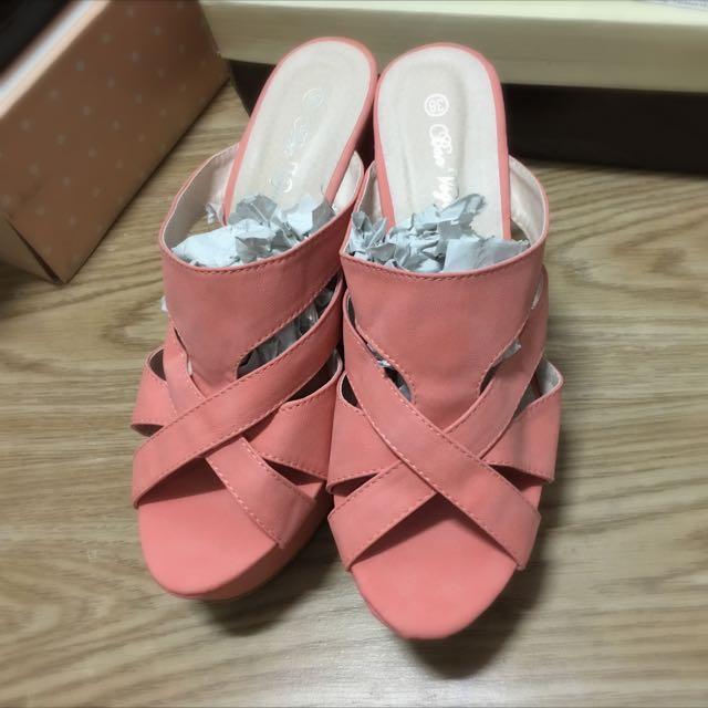 仲夏冰沙色裸肌線條交錯楔型厚底涼拖鞋
