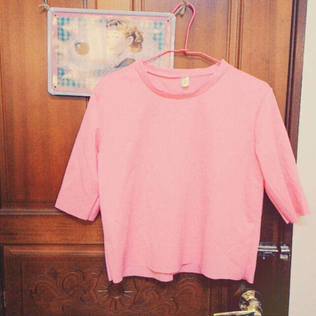 (保留)薄太空棉粉紅短版衛衣