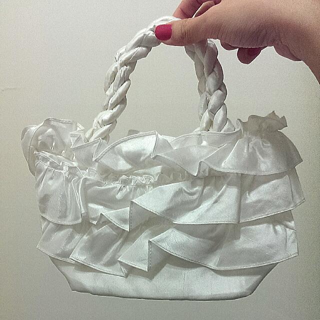 全新白色布質花邊小提包