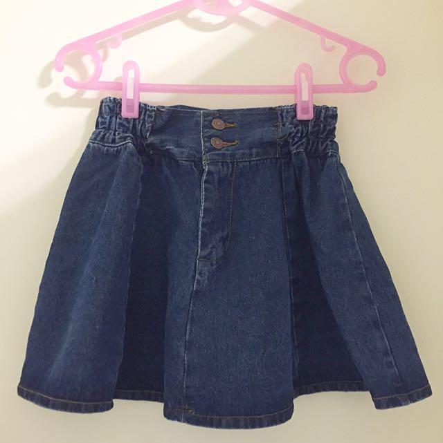 高腰深藍牛仔短裙(全新)