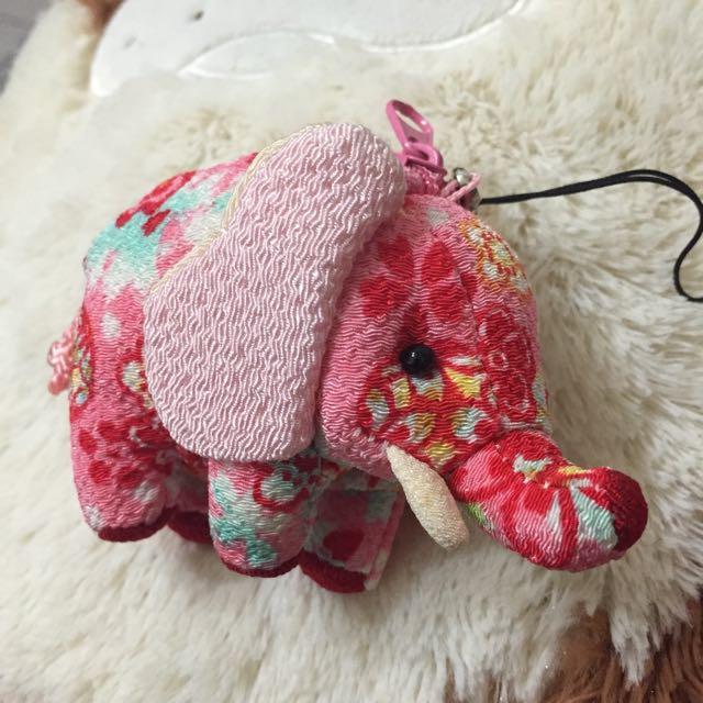 ✨全新✨日本拼布大象零錢包鑰匙圈