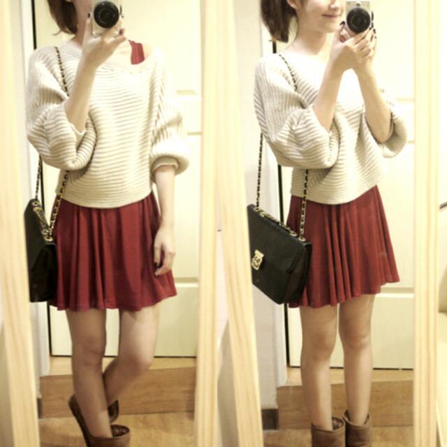 酒紅色 背心裙