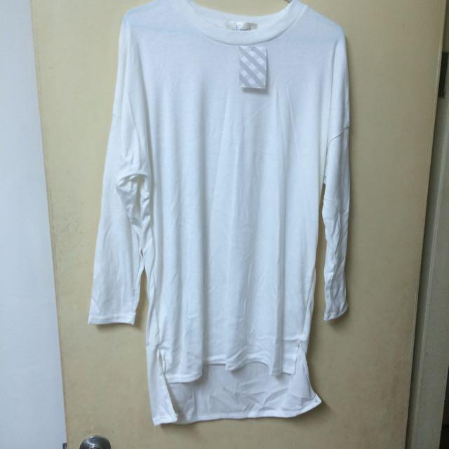 全新 白色長版上衣