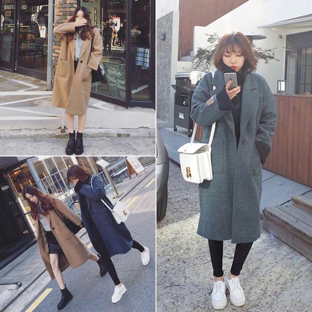韓風 寬鬆長版毛呢外套
