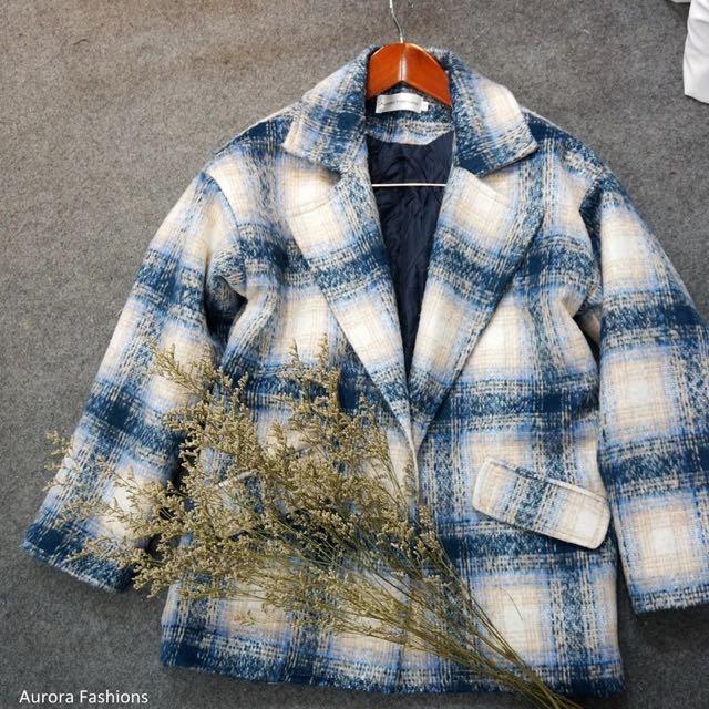 韓風 寬鬆格子毛呢外套