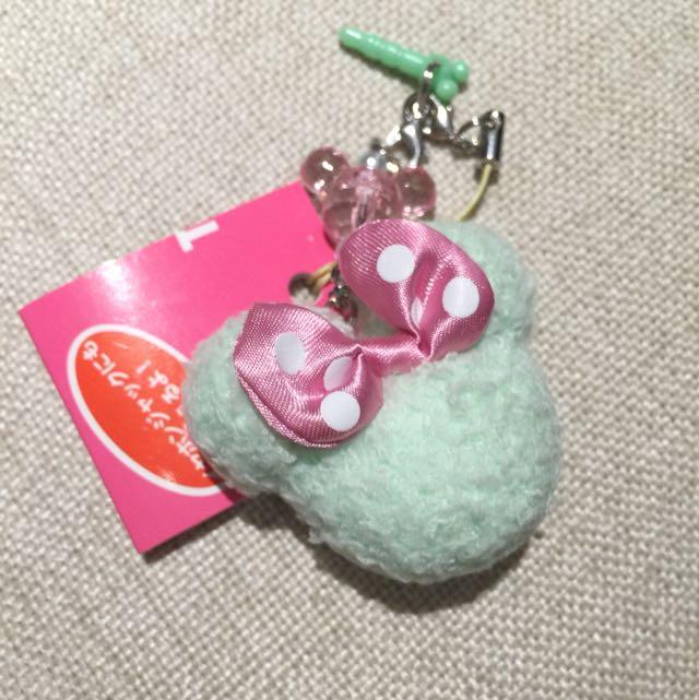 迪士尼帶回 米妮耳機塞 粉色緞帶小吊飾