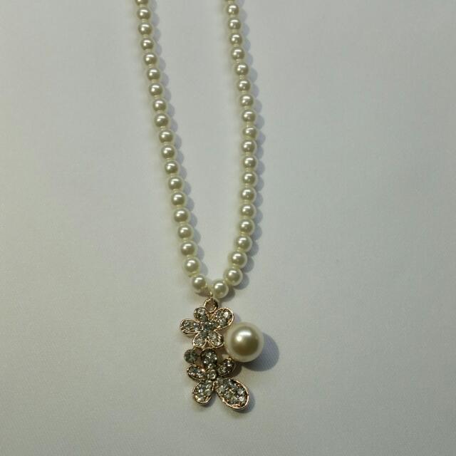 韓風貴婦款 珍珠項鍊 花朵現貨