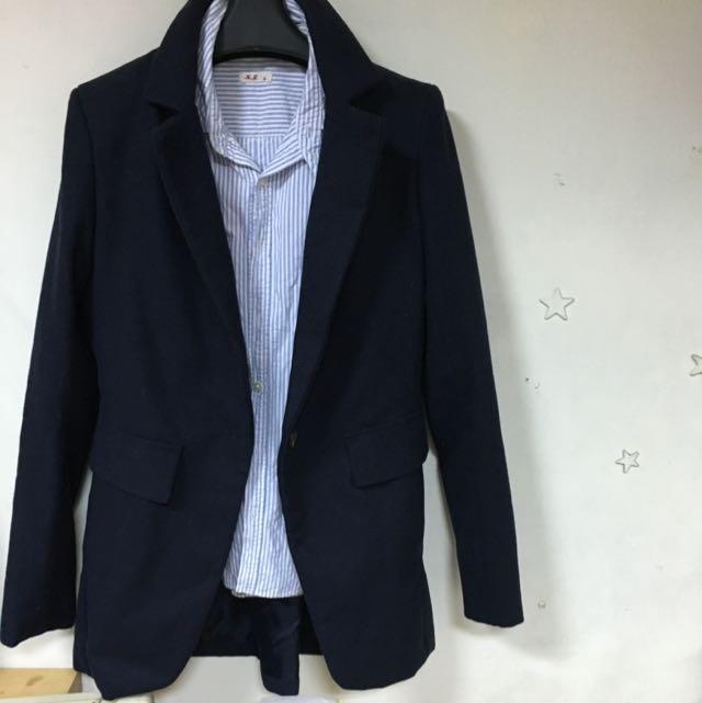 深藍 西裝外套 單釦 修身 中長版 面試必備 絨布