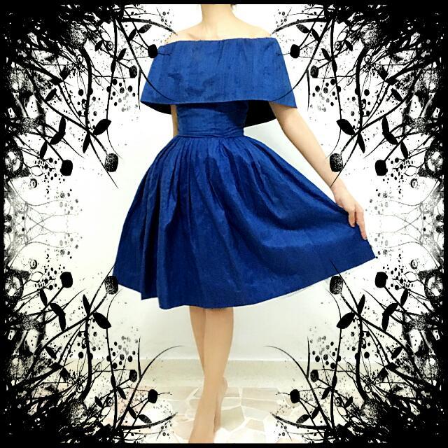 fa82f313c410 ❤Beautiful 50s Vintage Prom Formal Dinner Silk Off Shoulder Dress ...