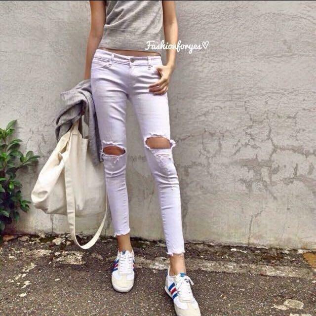 Fashionforyes 白色割破牛仔褲