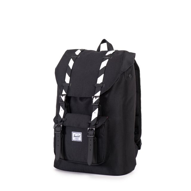 fa3b5245e8d  INSTOCK  Herschel Little America Mid Volume Backpack (Black Black Stripe  Rubber)