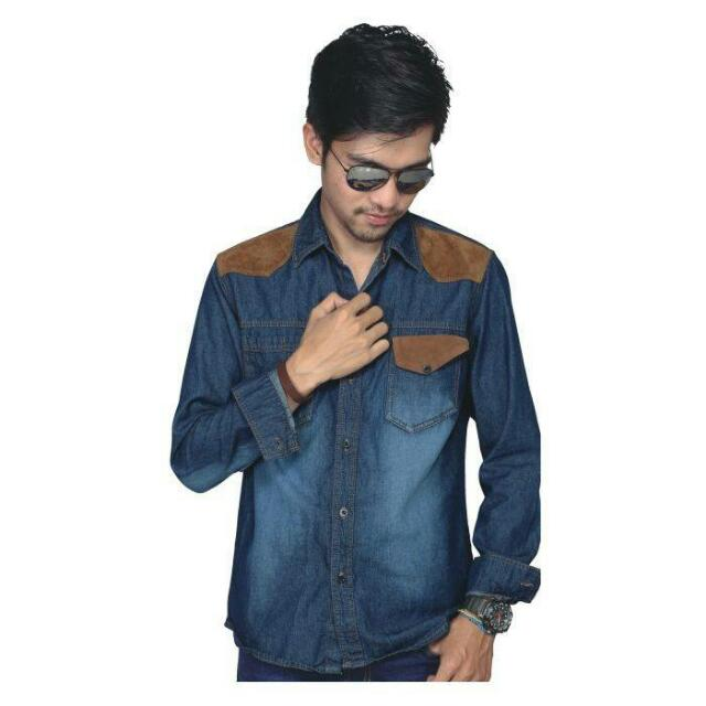 Kemeja Blue Denim MT 546