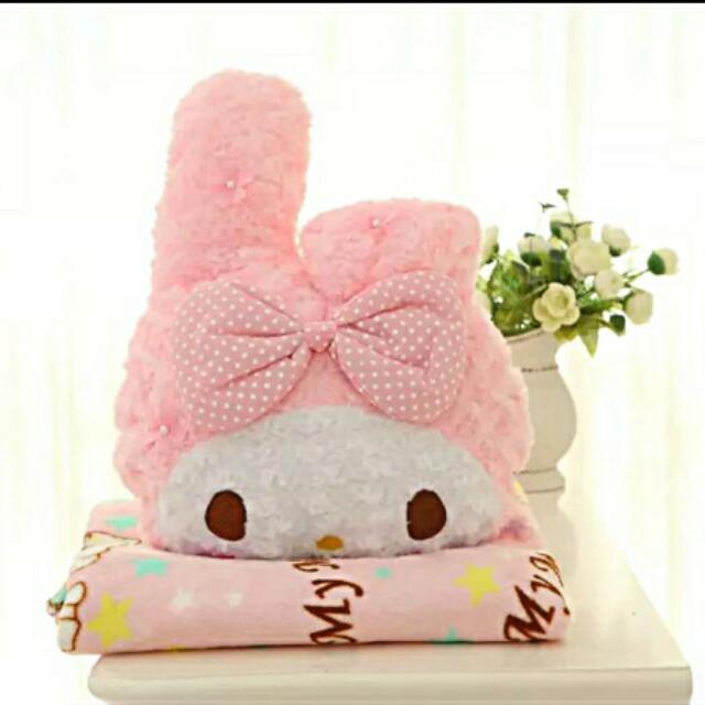 櫻花KITTY美樂蒂珊瑚絨毛毯+抱枕