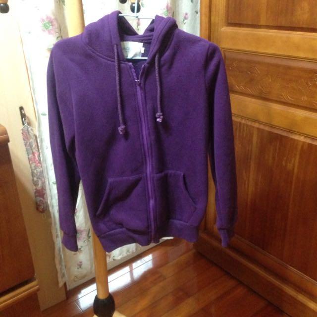 降!OB嚴選紫色刷毛連帽外套(尺寸m號)