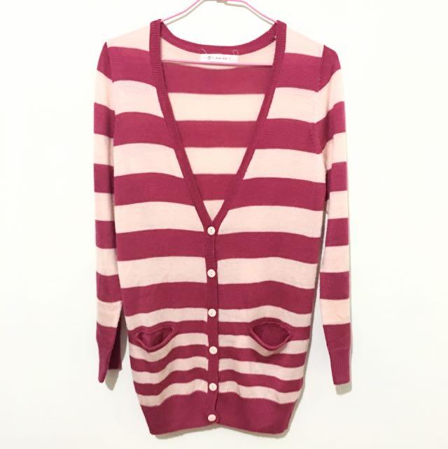 【ORENDA】粉紅針織條紋外套