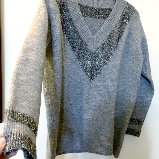 V領 毛衣 優雅 灰 略寬鬆 學院風