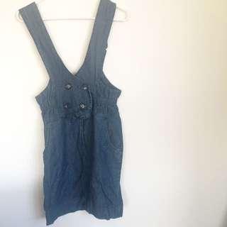 Demim Overalls Dress - Vintage - Size S