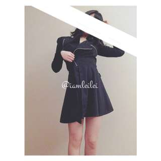 👘二手👘秋冬氣質黑色斜拉鏈超顯瘦中長綁帶外套