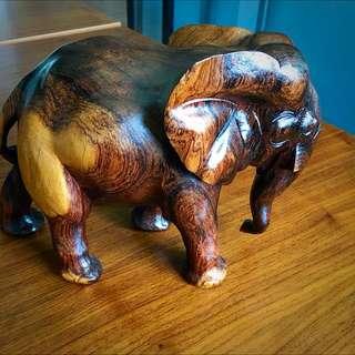 Solid Teak Elephant Figurine