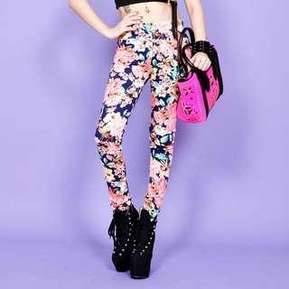 Vii&co 購入 修身長褲 超顯瘦 花褲 內搭外穿都可