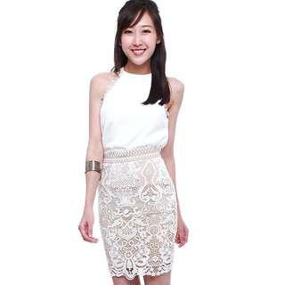 Crochet Lace Skirt in Cream