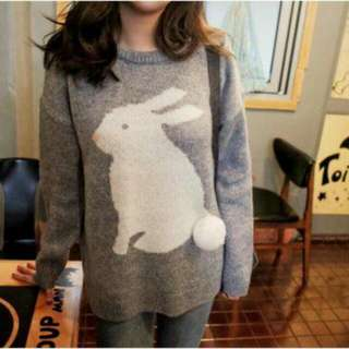 CHERRYKOKO 立體兔尾巴寬鬆針織衫