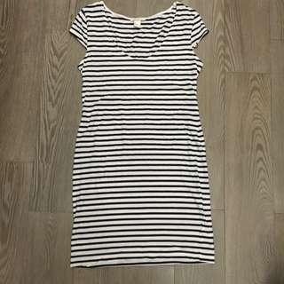 BASIC-黑白橫條洋裝