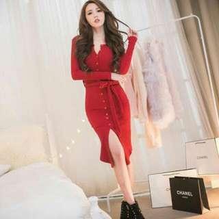 FDQ26823 紅色red(三色入內)2016韓版特顯緊身顯身材開衫腰帶搭配束腰螺紋連衣裙