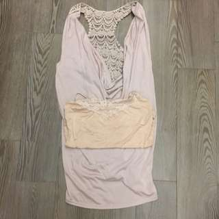 兩件式長版洋裝(附小可愛)