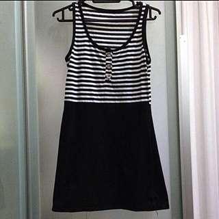 Striped White And Black Dress