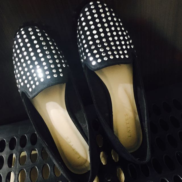滿版貼鑽黑色平底鞋23.5