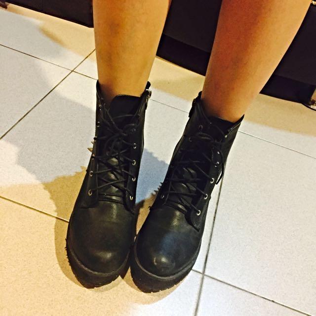 黑色造型短靴38/24.5