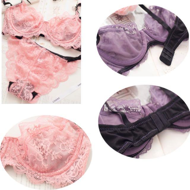 薄透繡花蕾絲(紫色)